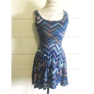 """•new• NWOT """"London"""" blue chevron skater dress"""